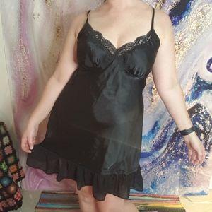 Sexy black slip dress with chiffon ruffle